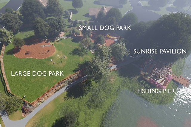 The new Rancho Sienna dog park will feature small & large dog play areas, as well as a covered Sunrise Pavilion & fishing pier for homeowners to enjoy.