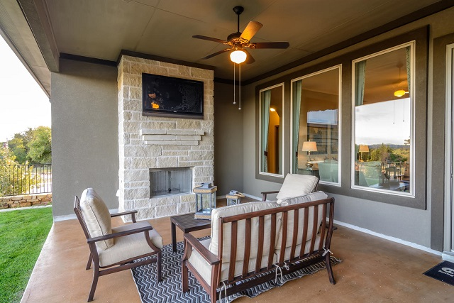 The outdoor living space of the current Chesmar Homes Dalton model