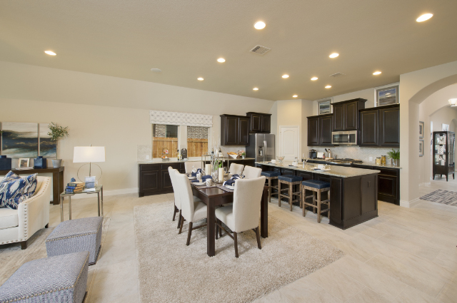 Open concept kitchen, dining, and living