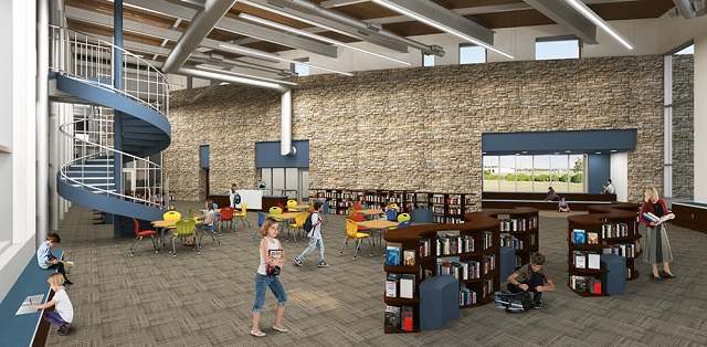 A rendering of the library within the new school. (Image courtesy of Liberty Hill ISD)