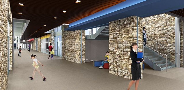 A rendering of the school's main corridor space