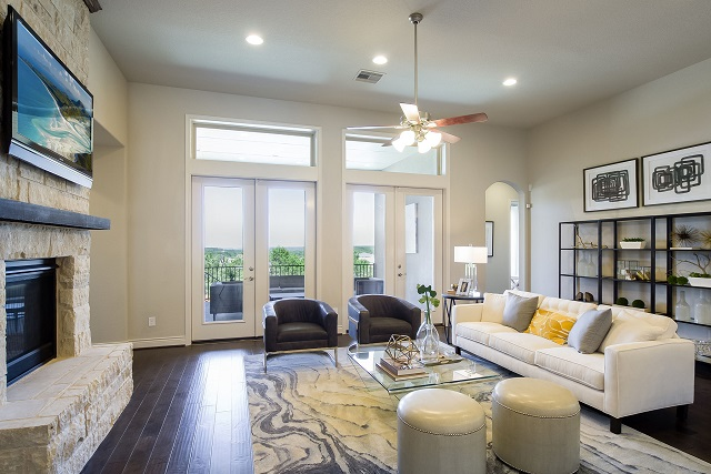 The open living room of the 3435S model home by Perry Homes