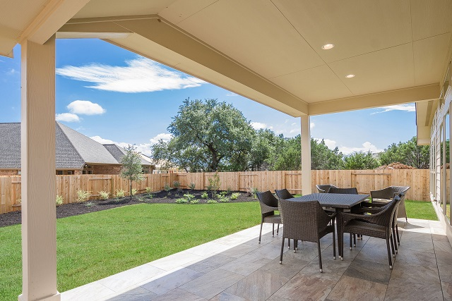 Perry Homes model home outdoor living Rancho Sienna community Georgetown, TX