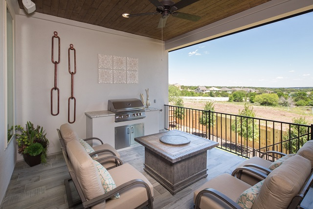 Covered patio of the new 602F model by Trendmaker Homes