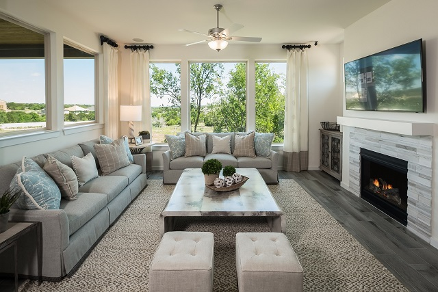 Family room of the new 602F model by Trendmaker Homes