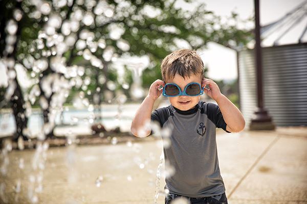 Rancho Sienna boy with with sunglasses at splash and swim