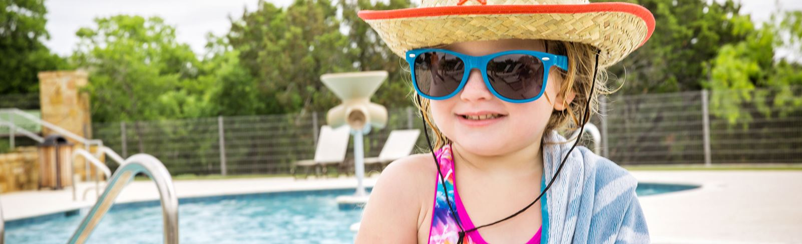 Rancho Sienna little girl at Sienna House pool