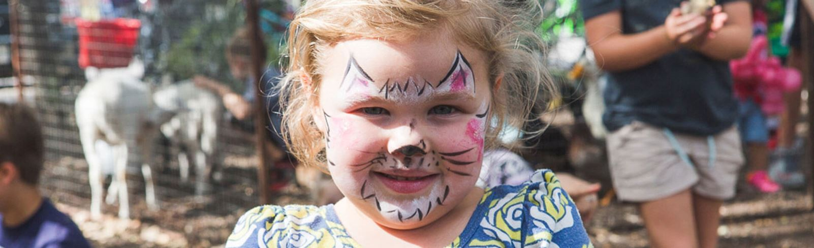 Rancho Sienna girl with painted face holding a chick in a petting corral at Harvest Festival