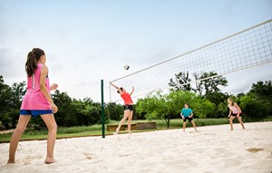 Rancho Sienna Greenleaf Park teens playing volleyball on sand