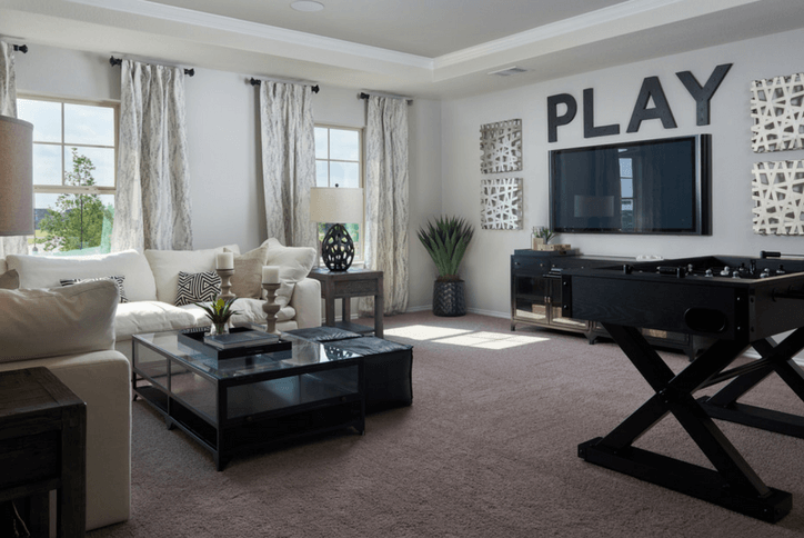 Granville Model home game room by Pulte Homes in Rancho Sienna Georgetown, TX