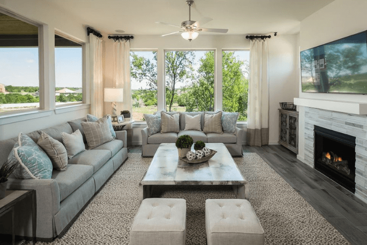 Plan 620F Model home living room by Trendmaker Homes in Rancho Sienna Georgetown, TX