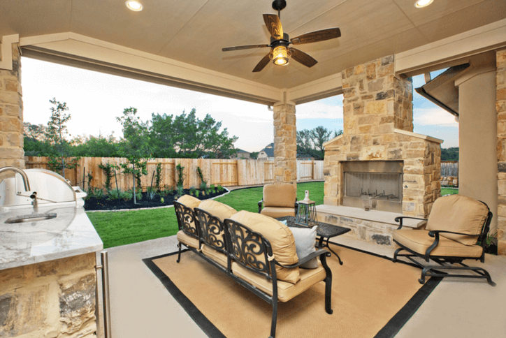 San Saba Outdoor Living Model home by Sitterle Homes in Rancho Sienna Georgetown, TX