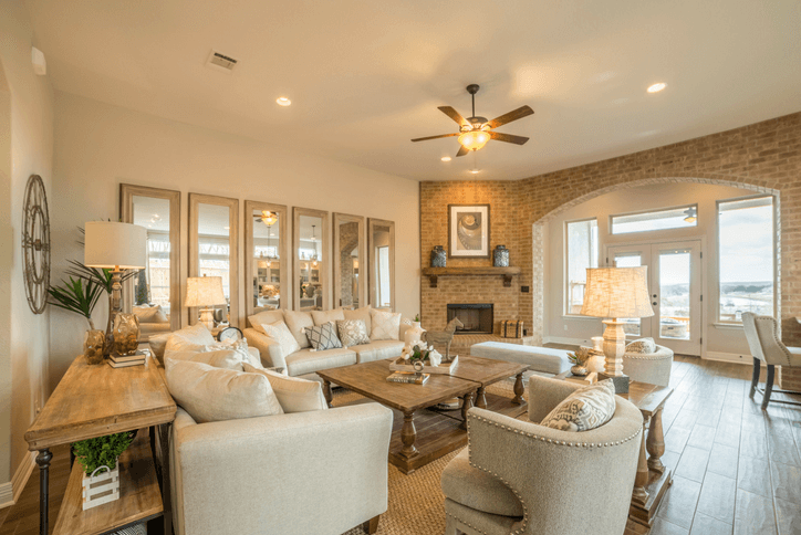 Owen Model home living room by Chesmar Homes in Rancho Sienna Georgetown, TX